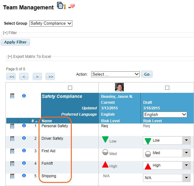 Team Management Group Item Name used in VTA Learner