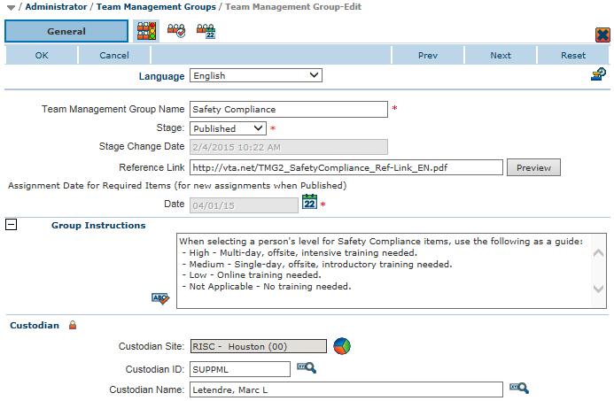 Team Management Group multi-language setup - English