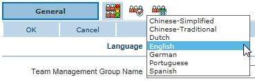 Team Management Group multi-language setup - Language selector