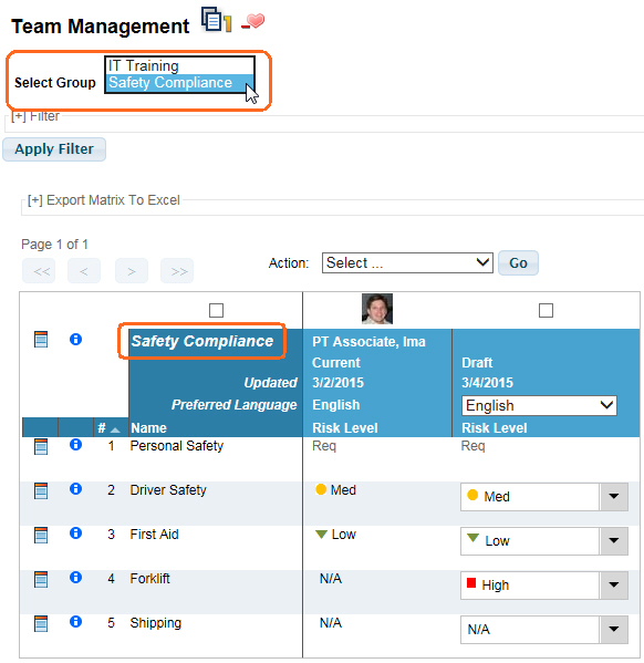 Team Management Group Name used in VTA Learner