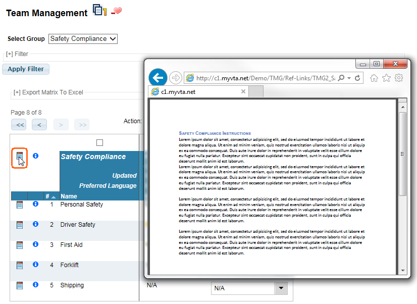 Team Management Group Reference Link launched in VTA Learner