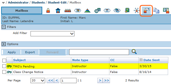 Student Mailbox tab with TM notice to supervisor