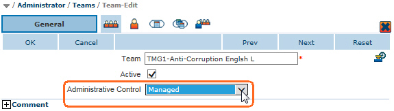 Team Administrative Control must be set to Managed